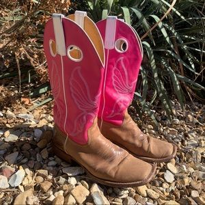 Pink Butterfly square toe boots